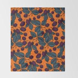 Blackberry hand- drawn pattern Throw Blanket