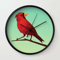 low poly Wall Clocks featuring Low-poly Red Bird by fortyfive