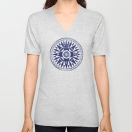 Nautical Compass | Vintage Compass | Navy Blue and White | Unisex V-Neck