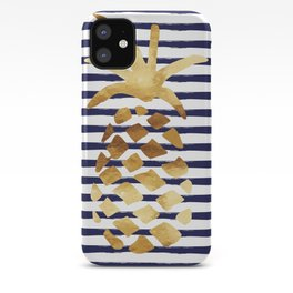 Pineapple & Stripes - Navy White Gold iPhone Case