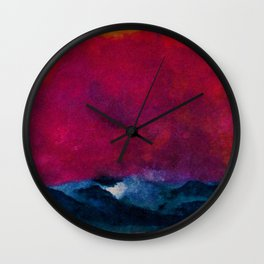 Sea with Stormy Red Sky nautical landscape painting by Emil Nolde Wall Clock
