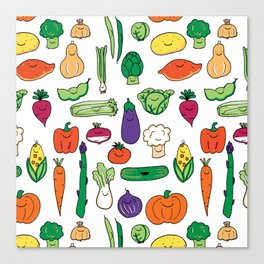 Cute Smiling Happy Veggies on white background Canvas Print