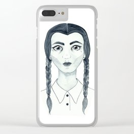 Kind of Wednesday Addams (White Backdrop) Clear iPhone Case