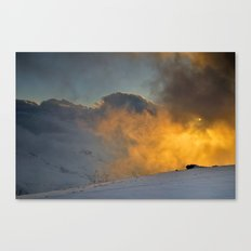 Foggy sunset at 3000 meters Canvas Print