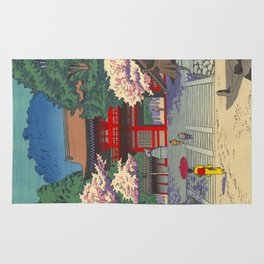 Asano Takeji Spring At Kurama Temple Vintage Japanese Woodblock Print Asian Art Rug