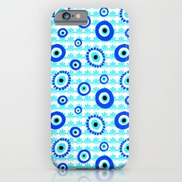 Evil Eye Charms Blue and White Pattern iPhone Case