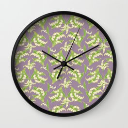Vintage-style Lily-of-the-Valley on Mauve Wall Clock