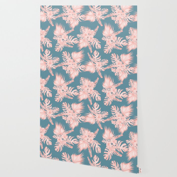 Tropical Palm Leaves Hibiscus Flowers Pink Blue Wallpaper