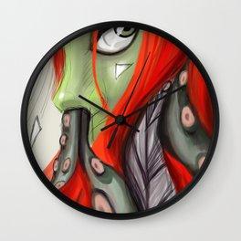 Red head, green skin Wall Clock