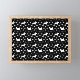 White Scottish Terriers (Scottie Dogs) & Hearts on Black Background Framed Mini Art Print