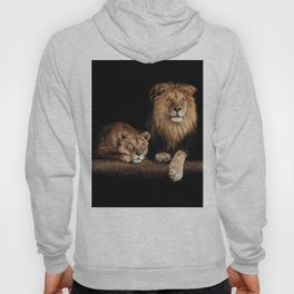 Lion and lioness, animals family. Portrait in the dark Hoody