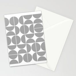 Mid Century Modern Geometric 04 Grey Stationery Cards