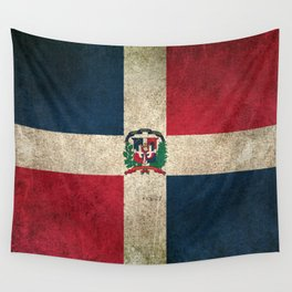 Old and Worn Distressed Vintage Flag of Dominican Republic Wall Tapestry
