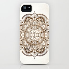 Mandala Brown Floral Pattern on Beige Background iPhone Case