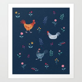 Little Hens (blue) Art Print