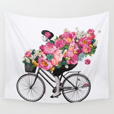 floral bicycle  Wall Tapestry