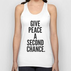 Give Peace a Second Chance. Unisex Tank Top