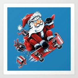 Santa Skateboarding Art Print