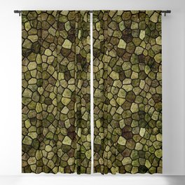 Seaweed and Juniper Cobbled Patchwork Terrazo Pattern Blackout Curtain
