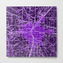 Purple Old Map, Denver 1958, Vintage Wall Decor Metal Print