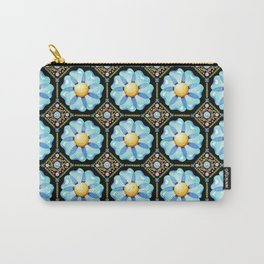 Blue Floral Millefiori Carry-All Pouch