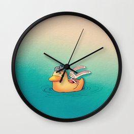 Toki and Jellybean with a duck Wall Clock