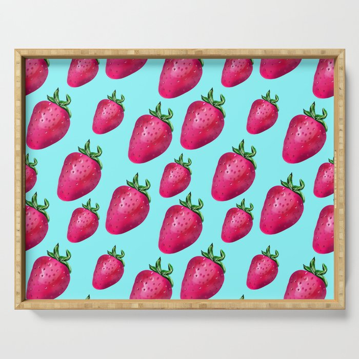 Fun Summery Strawberry Print With Light Blue Background! (Large Scale) Serving Tray