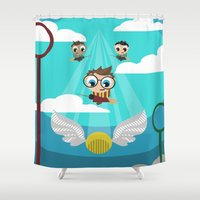 quidditch Shower Curtains featuring QUIDDITCH by Chris Thompson, ThompsonArts.com