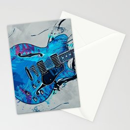 Blue Electric Guitar Stationery Cards