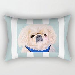 Peke Augie Blue Harness Rectangular Pillow