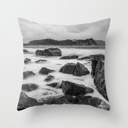 Rocky Ocean Black And White Throw Pillow