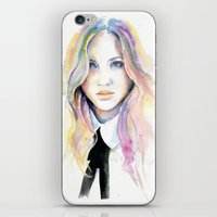 college iPhone & iPod Skins featuring College girl by Cora-Tiana