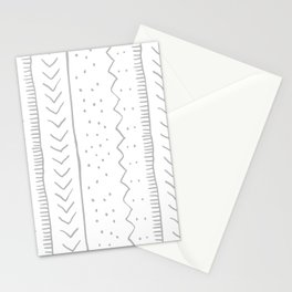 Moroccan Stripe in Grey Stationery Cards