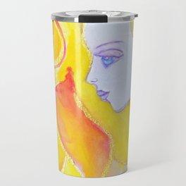 Lady Autumn Watercolor Art Nouveau Gold Travel Mug