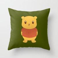 winnie the pooh Throw Pillows featuring Cute Winnie the Pooh Bear by geraldbrio