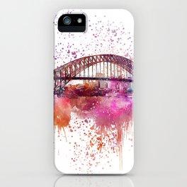 Sydney Harbor Bridge Watercolor Art iPhone Case