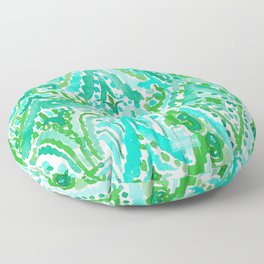 DROPS OF WONDER Green Ikat Tribal Floor Pillow