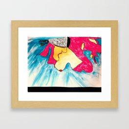 Fallen Angel in Red Dress Framed Art Print