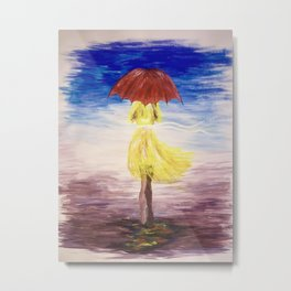 Walkin' in the rain Metal Print
