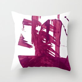 Cranberry brushstroke [1]: a bold, simple, abstract piece in purple Throw Pillow