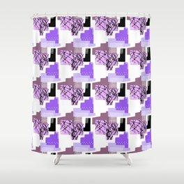 Purple 90's Style Geometric Pattern Shower Curtain