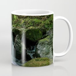 Flowing Creek, Green Mossy Rocks, Forest Nature Photography Coffee Mug