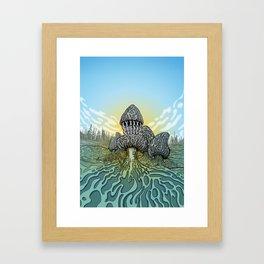 Morel Mushroom Disc Golf basket Framed Art Print