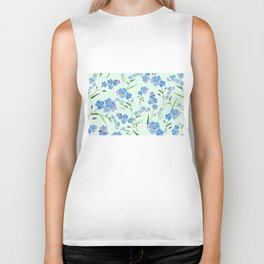forget me not in green background Biker Tank