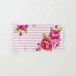 Roses on geometric pattern Hand & Bath Towel