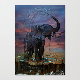 Naughty Elephant Squirts Water Canvas Print