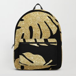 Gold Glitter Monstera Leaves Pattern Backpack
