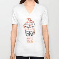 zappa V-neck T-shirts featuring Life asked death... by Picomodi