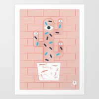 Pink cactus and white pot Art Print