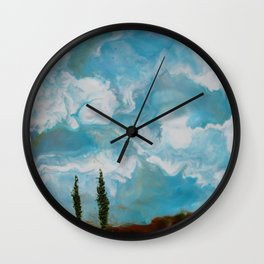 Cypress Trees encaustic wax painting by Seasons Kaz Sparks Wall Clock